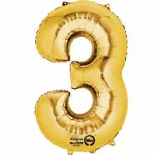 "Gold Number 3 Mini-Foil Balloon (16"" Air) 1pc"